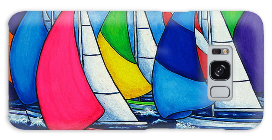 Boats Galaxy Case featuring the painting Colourful Regatta by Lisa Lorenz