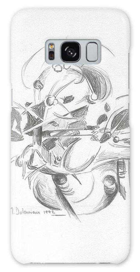 Abstract Galaxy Case featuring the drawing Combat by Muriel Dolemieux