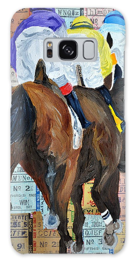 Horse Racing Galaxy S8 Case featuring the painting Coming From Behind by Michael Lee