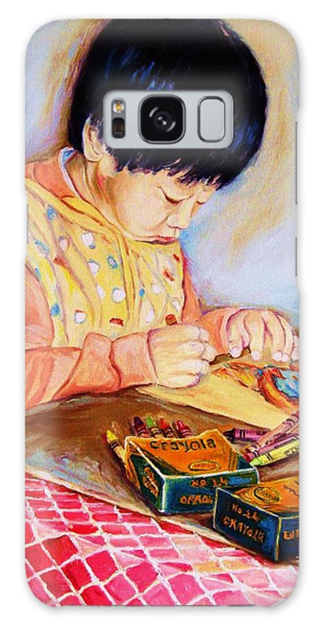 Beautiful Child Galaxy Case featuring the painting Commission Portraits Your Child by Carole Spandau