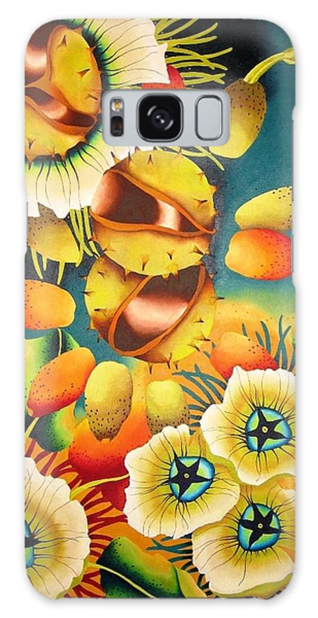 Flower Galaxy S8 Case featuring the painting Conker by Elizabeth Elequin