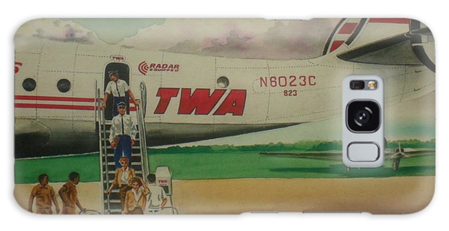Twa Airplane Airlines Connie Constellation Three Tailed Crew Deplaning Dc-3 In Backgrund Galaxy S8 Case featuring the painting Connie Crew Deplaning At Columbus by Frank Hunter