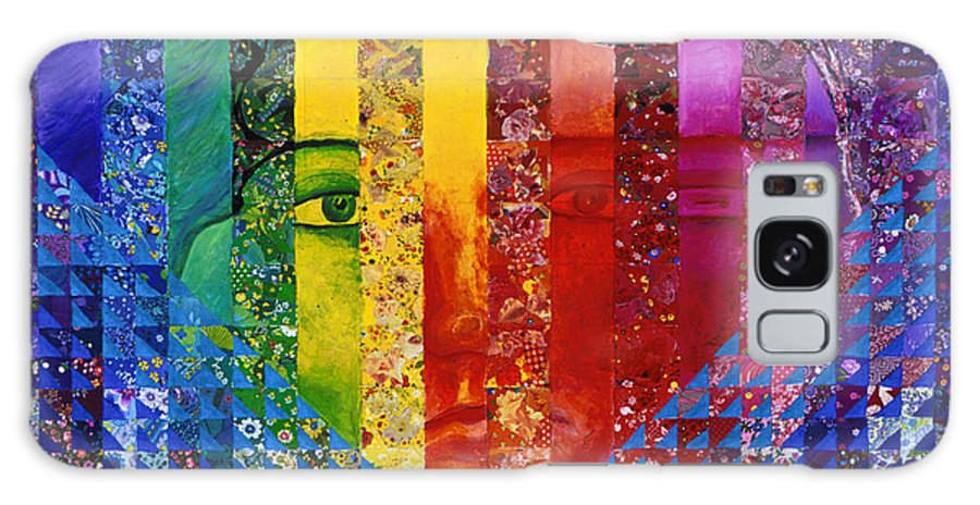 Colorful Galaxy Case featuring the mixed media Conundrum I - Rainbow Woman by Diane Clancy