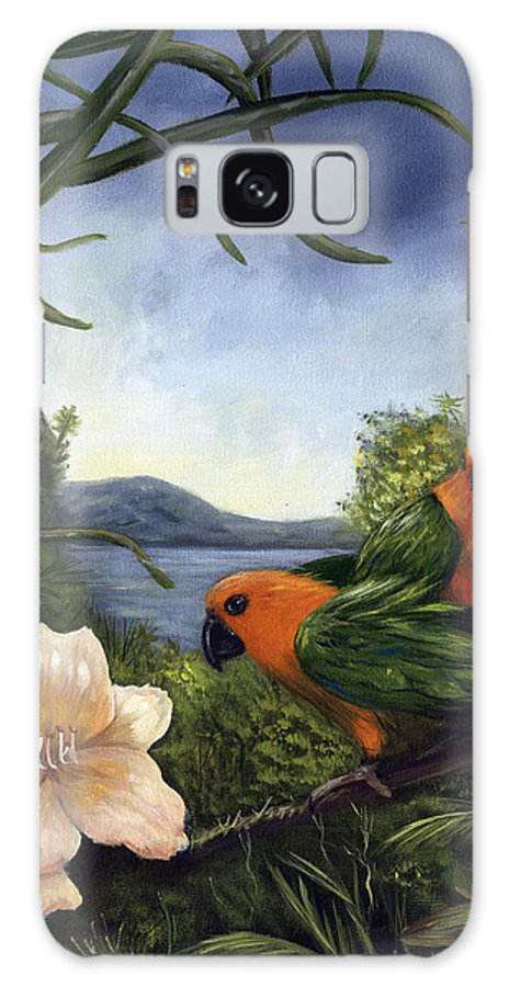 Landscape Galaxy S8 Case featuring the painting Conures by Anne Kushnick