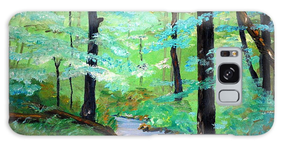 Mountain Stream Water Serenity Nature Plien Air Woods Landscape Wallow Trails Trees Foilage Summer Galaxy S8 Case featuring the painting Cool Mountain Stream by Phil Burton