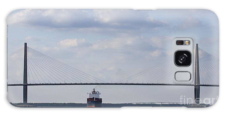 Cooper River Bridge Galaxy S8 Case featuring the photograph Cooper River Bridge Container Ship Charleston by Dustin K Ryan