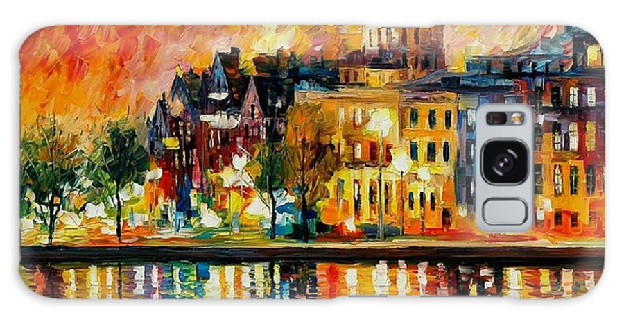 City Galaxy S8 Case featuring the painting Copenhagen Original Oil Painting by Leonid Afremov