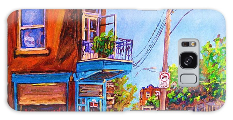 Wilenskys Corner Fairmount And Clark Galaxy Case featuring the painting Corner Deli Lunch Counter by Carole Spandau