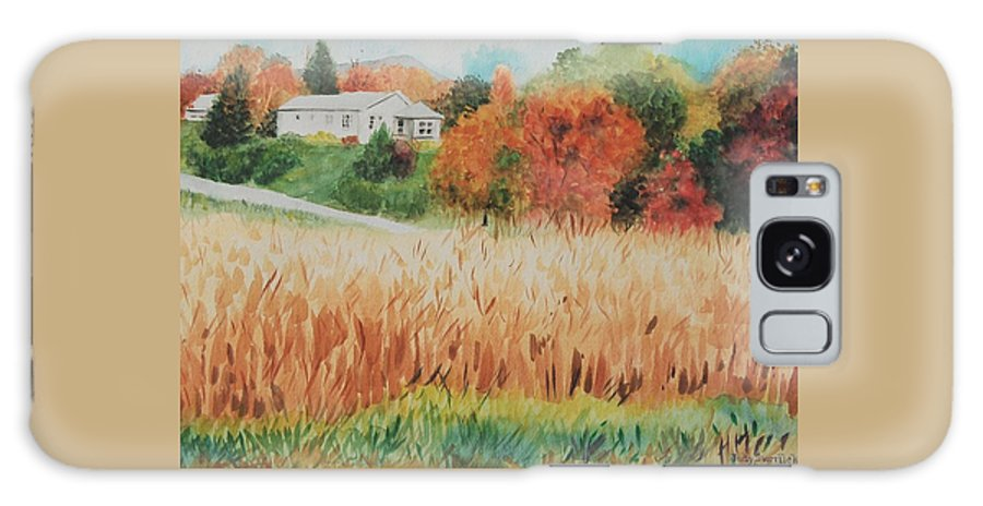 Autumn Galaxy Case featuring the painting Cornfield In Autumn by Judy Swerlick