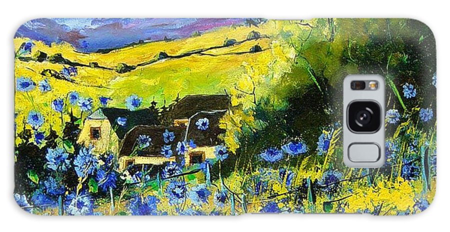 Flowers Galaxy Case featuring the painting Cornflowers In Ver by Pol Ledent