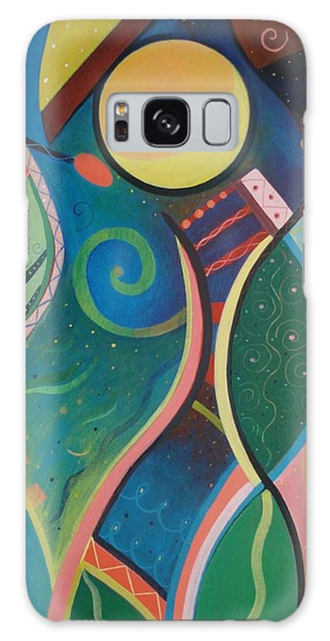 Abstract Galaxy S8 Case featuring the painting Cosmic Carnival V Aka The Dance by Helena Tiainen