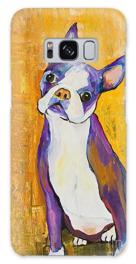 Boston Terrier Animals Acrylic Dog Portraits Pet Portraits Animal Portraits Pat Saunders-white Galaxy S8 Case featuring the painting Cosmo by Pat Saunders-White