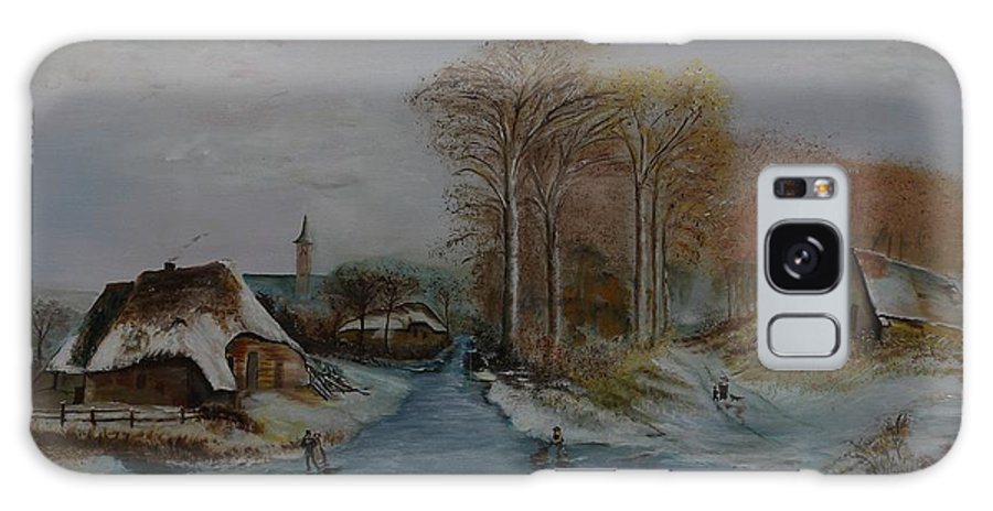 Thatched Roof Cottage Galaxy S8 Case featuring the painting Cottage Country - Lmj by Ruth Kamenev