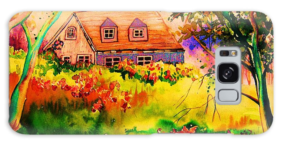Maine Countryscene Galaxy S8 Case featuring the painting Cottage In Maine by Carole Spandau