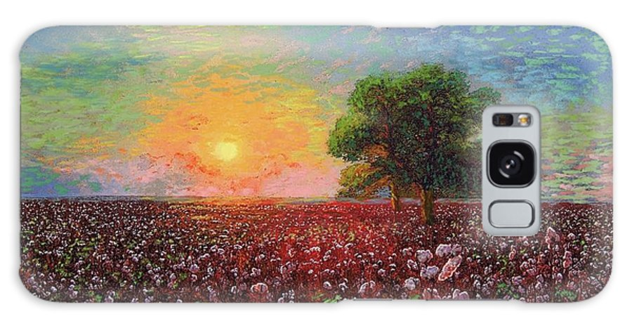 Meadow Galaxy S8 Case featuring the painting Cotton Field Sunset by Jane Small