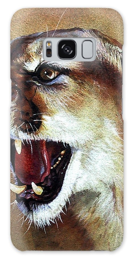 Southwest Art Galaxy S8 Case featuring the painting Cougar by J W Baker