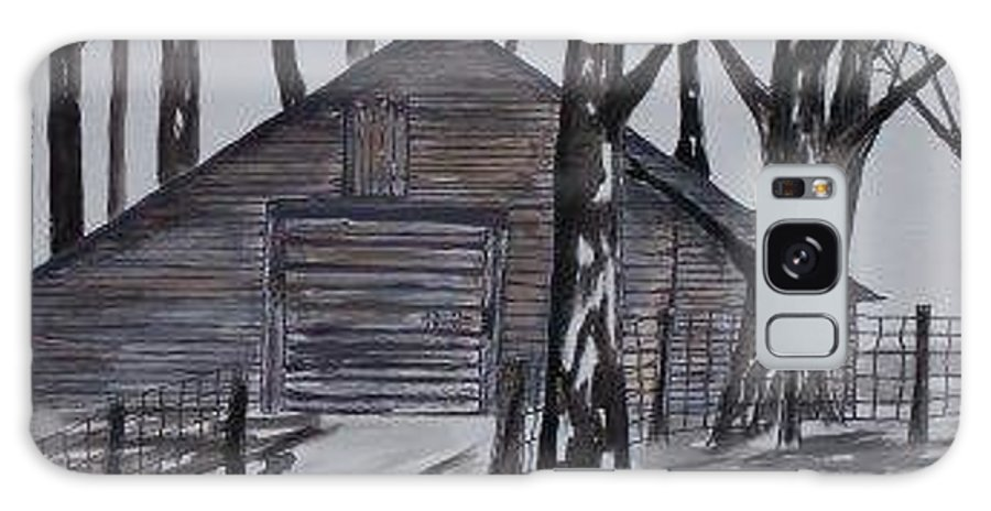 Watercolor Landscape Painting Barn Pen And Ink Drawing Print Original Galaxy S8 Case featuring the painting Country Barn Pen And Ink Drawing Print by Derek Mccrea