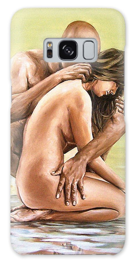 Nude Galaxy Case featuring the painting Couple by Natalia Tejera