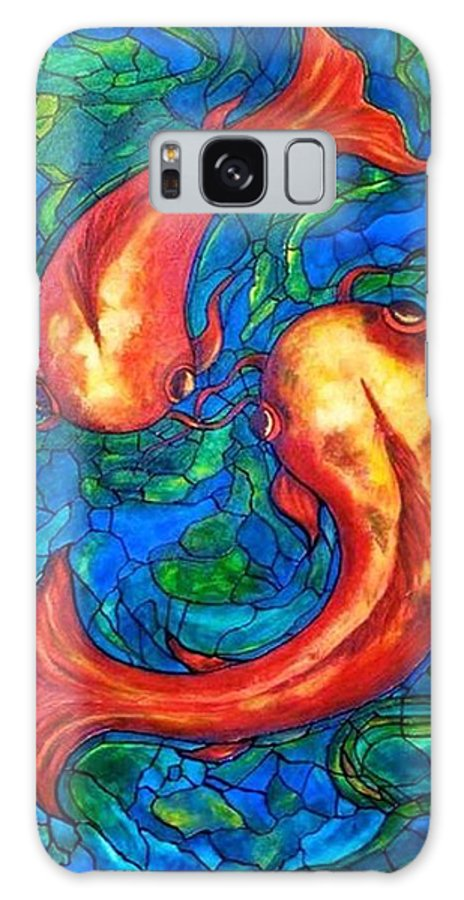 Original Painting Galaxy Case featuring the painting Courtship by Rae Chichilnitsky