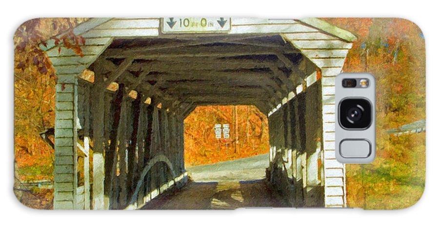 Covered Bridge Revolutionary Civil War Impasto Galaxy S8 Case featuring the photograph Covered Bridge Impasto Oil by David Zanzinger
