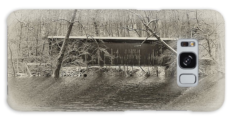 Philadelphia Galaxy S8 Case featuring the photograph Covered Bridge In Black And White by Bill Cannon