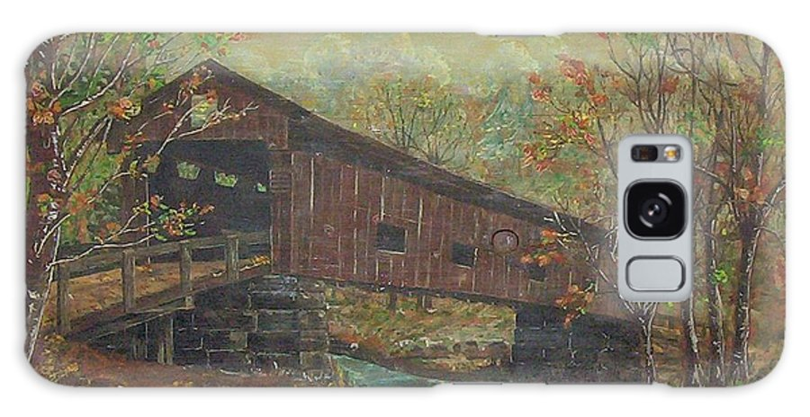 Bridge Galaxy Case featuring the painting Covered Bridge by Phyllis Mae Richardson Fisher