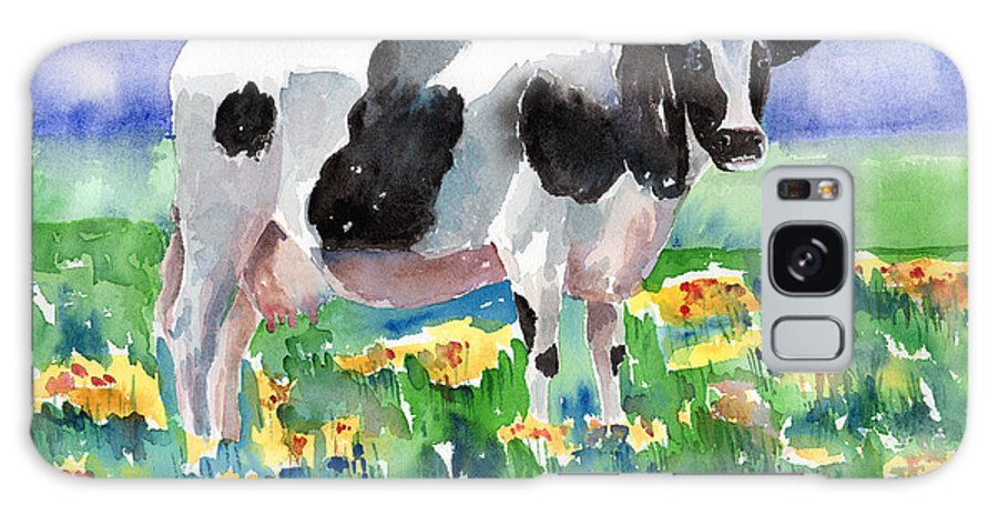Cow Galaxy S8 Case featuring the painting Cow In The Meadow by Arline Wagner