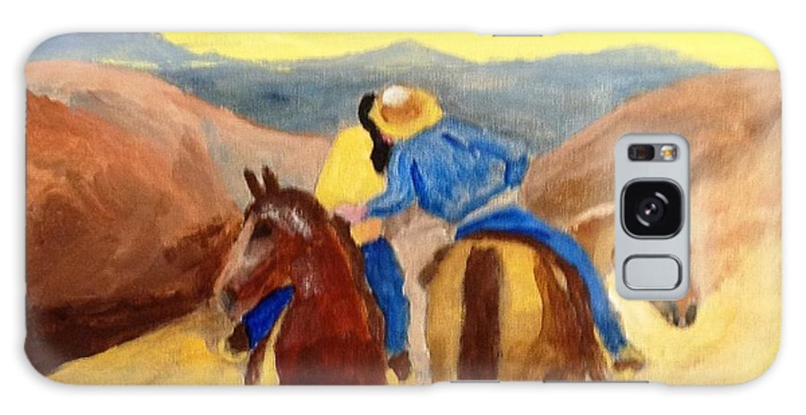 Cowboy Galaxy S8 Case featuring the painting Cowboy Kisses Cowgirl by Joe Hagarty