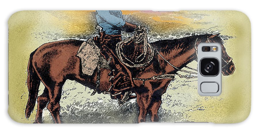 Cowboy Galaxy S8 Case featuring the painting Cowboy N Sunset by Kevin Middleton