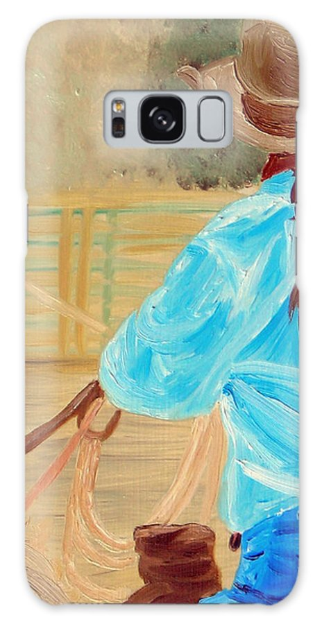 Horses Galaxy S8 Case featuring the painting Cowgirl Roping by Michael Lee