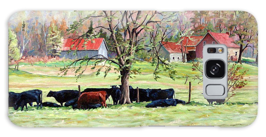 Cows Galaxy S8 Case featuring the painting Cows Grazing In One Field by Richard T Pranke