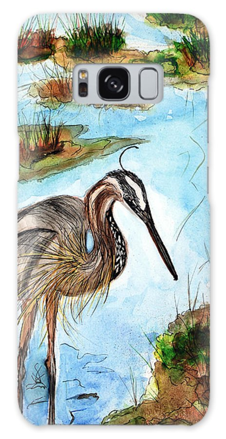 Birds Galaxy S8 Case featuring the painting Crane In Florida Swamp by Margaret Fortunato