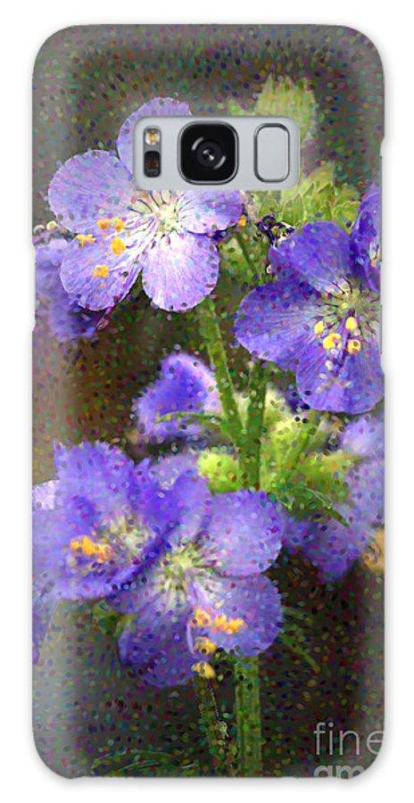 Flowers Galaxy S8 Case featuring the photograph Craquelure On Blue by Deborah Benoit