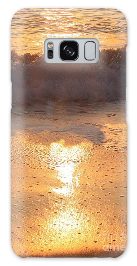 Waves Galaxy Case featuring the photograph Crashing Wave At Sunrise by Nadine Rippelmeyer