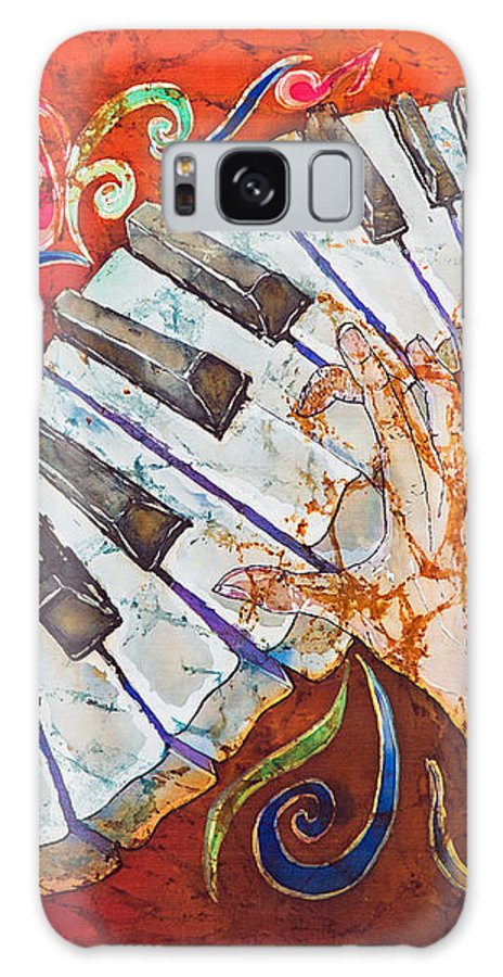 Piano Galaxy Case featuring the tapestry - textile Crazy Fingers - Piano Keyboard by Sue Duda