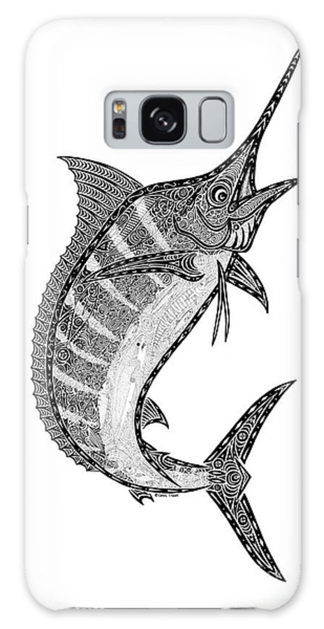 Marlin Galaxy S8 Case featuring the drawing Crazy Marlin by Carol Lynne