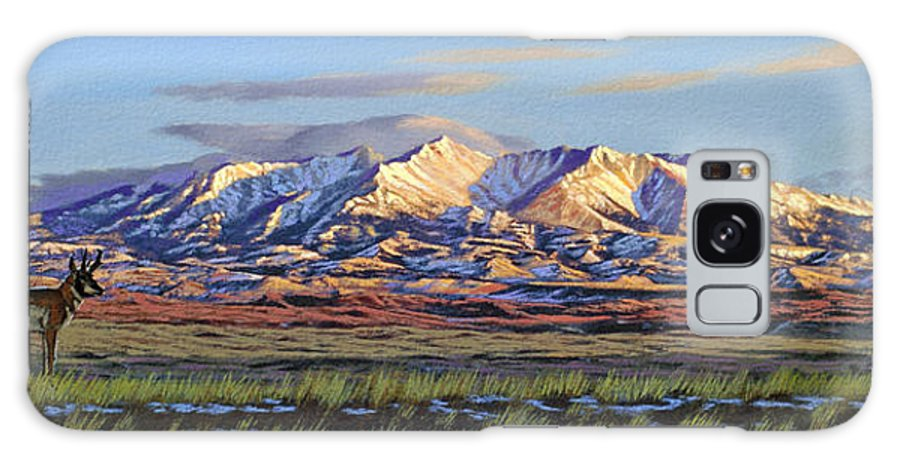 Mountains Galaxy S8 Case featuring the painting Crazy Mountains-morning by Paul Krapf