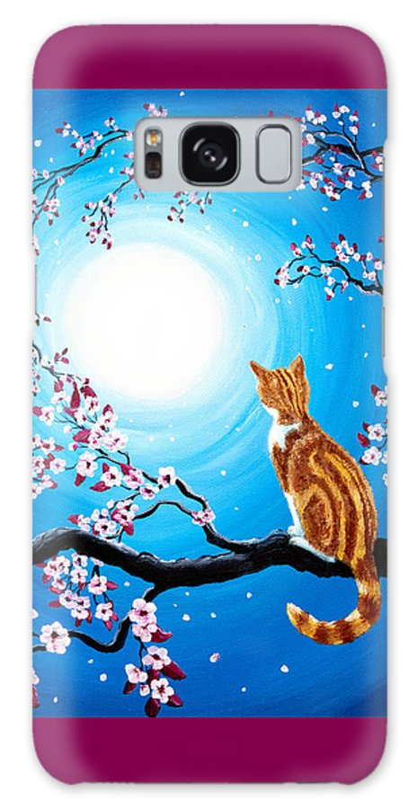 Orange Tabby Galaxy S8 Case featuring the painting Creamsicle Kitten In Blue Moonlight by Laura Iverson