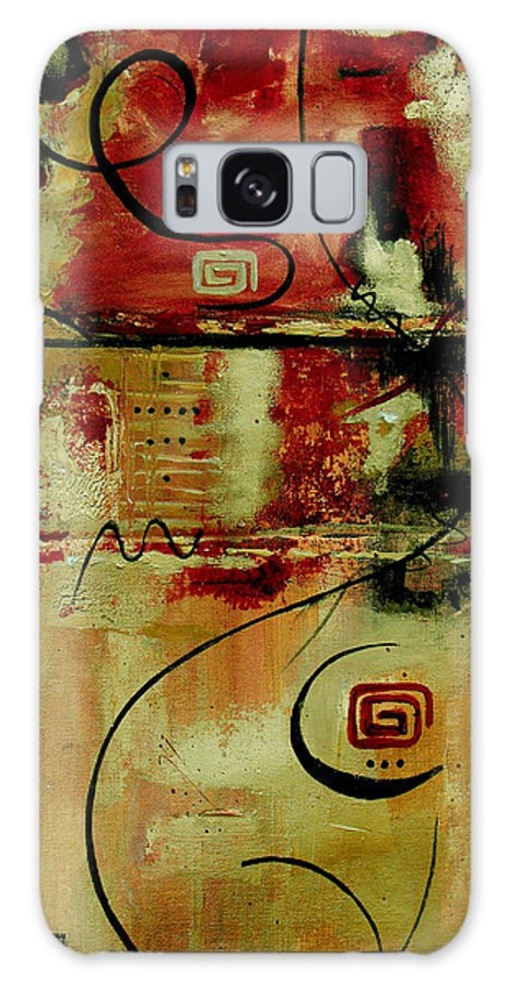 Abstract Galaxy S8 Case featuring the painting Crimson And Copper by Ruth Palmer