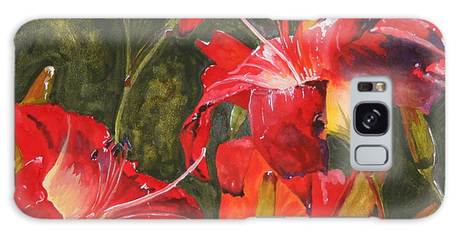 Red Galaxy Case featuring the painting Crimson Light by Jean Blackmer
