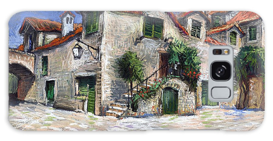 Pastel On Paper Galaxy Case featuring the painting Croatia Dalmacia Square by Yuriy Shevchuk