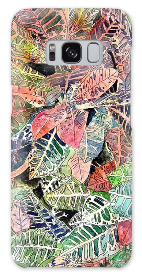 Croton Galaxy S8 Case featuring the painting Croton Tropical Art Print by Derek Mccrea
