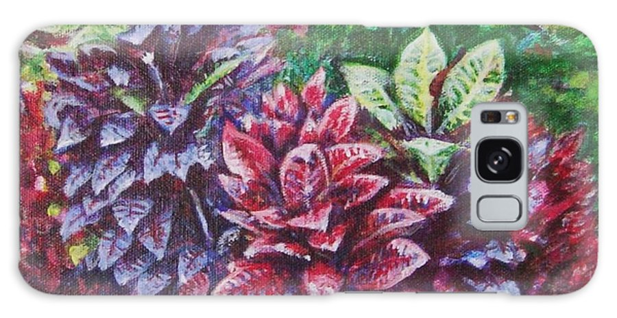Landscape Galaxy Case featuring the painting Crotons 1 by Usha Shantharam