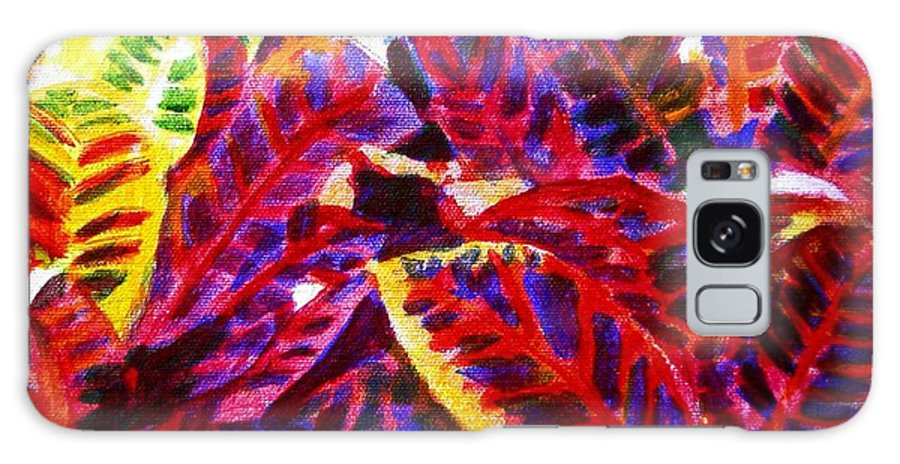 Nature Galaxy S8 Case featuring the painting Crotons Sunlit 1 by Usha Shantharam
