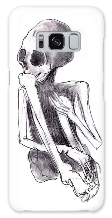 Crouched Skeleton Galaxy S8 Case featuring the drawing Crouched Skeleton by Michal Boubin