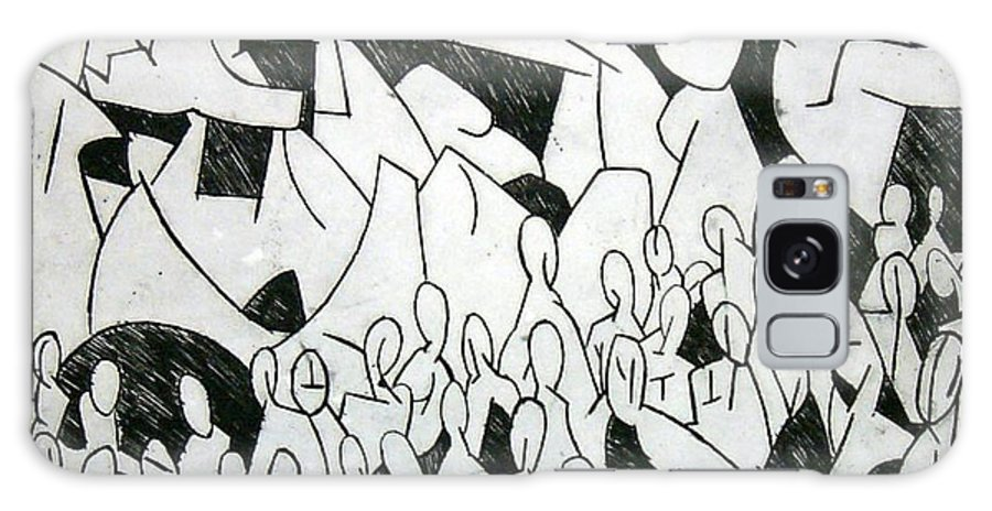 Etching Galaxy Case featuring the print Crowd by Thomas Valentine