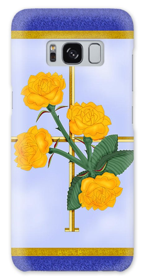 Golden Roses Galaxy Case featuring the painting Crusader Cross And Four Gospel Roses by Anne Norskog