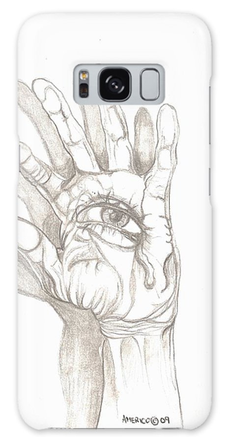 Hand Galaxy S8 Case featuring the drawing Crying Hand by Americo Salazar