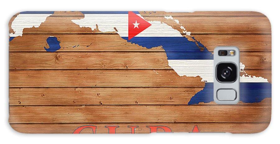 Cuba Rustic Map On Wood Galaxy S8 Case featuring the mixed media Cuba Rustic Map On Wood by Dan Sproul