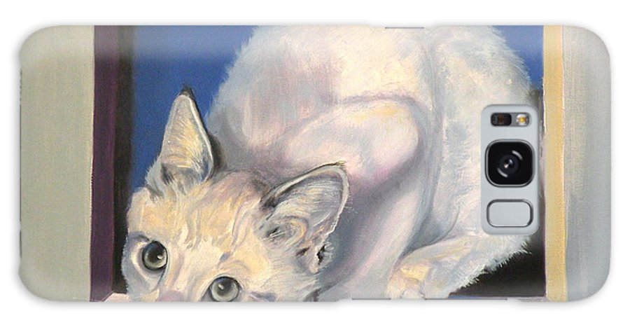 Cat Greeting Card Galaxy S8 Case featuring the painting Curiosity by Susan A Becker